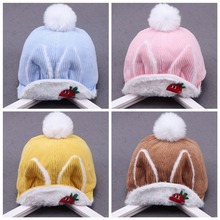 Baby Girl Hat Rabbit Ear For Girls Cotton Bow Knot Childrens Cap Toddler Kids Hats Cartoon Cute