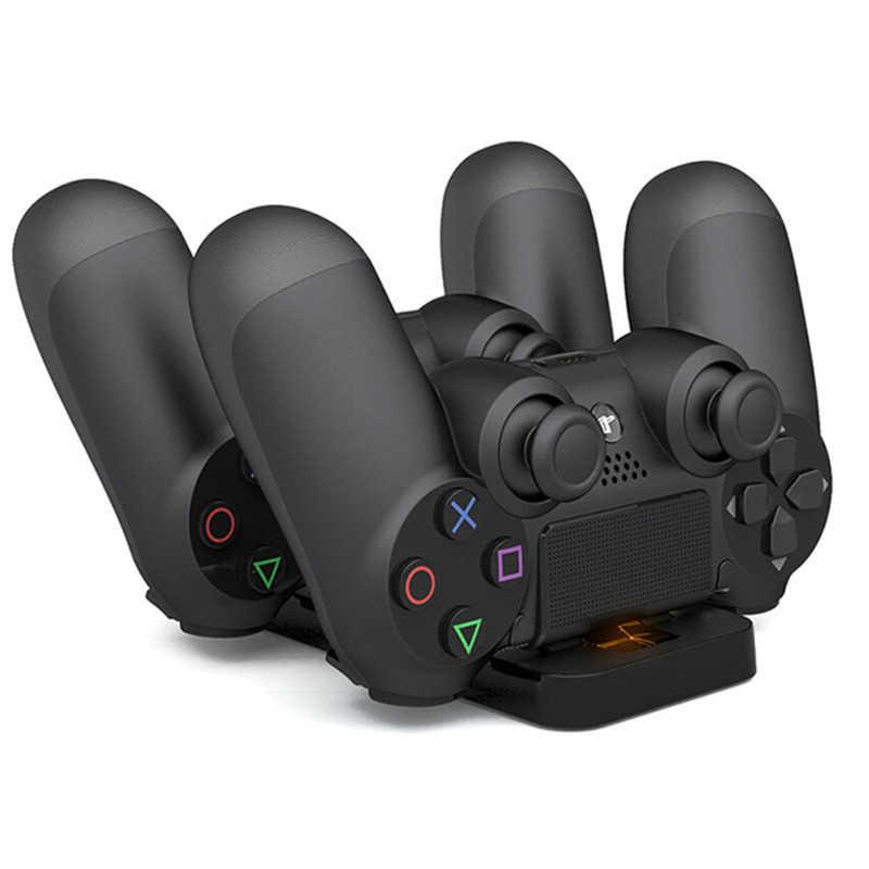 Çift USB şarj Dock PS4 PlayStation 4 oyun denetleyicisi kolu şarj İstasyonu Cradle PS4 denetleyici şarj standı