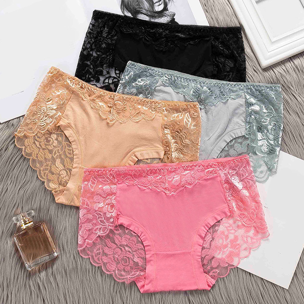 Seamless Safety Short Pants Women Thong Sexy   Panties   Thong Lace Word Pants Ladies Briefs Underwear Solid Lace Flowers Bowknot