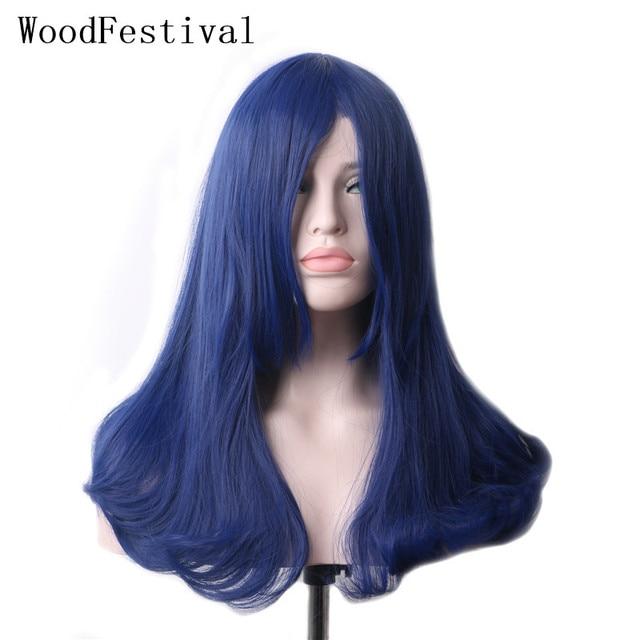 WoodFestival kadın donanma mavi sentetik kahküllü peruk uzun düz isıya dayanıklı Cosplay peruk kadınlar için