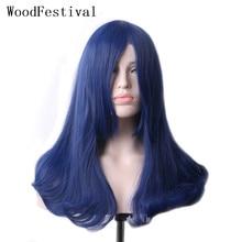 WoodFestival kobieta granatowy syntetyczna peruka z grzywką długie proste żaroodporne Cosplay peruki dla kobiet