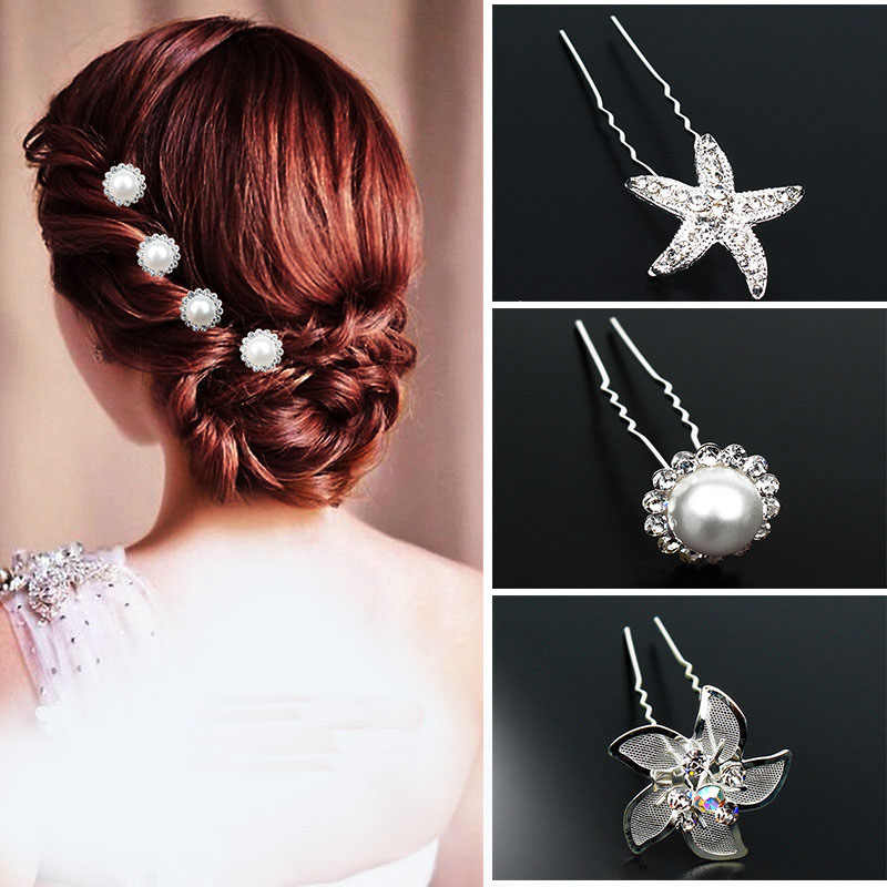 U saç sopa kadınlar için Rhinestone inci Metal gelin tokalar nedime saç Pins klipleri düğün parti saç aksesuarları Barrette