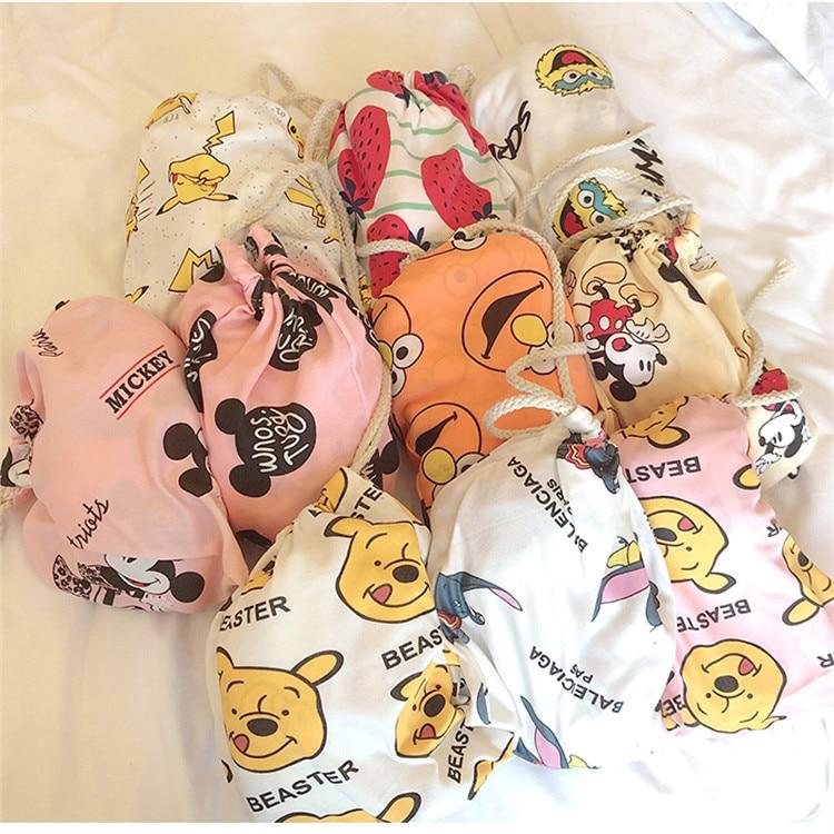 Hot Selling Cartoon Mickey Pajamas Women's Autumn & Winter Long Sleeve Trousers Storage Bag Three-piece Set Cloth Bag Pajamas