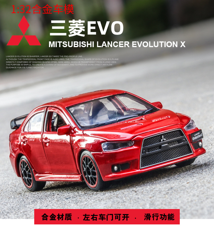 1/32 Mitsubishi Lancer EVO X 10 BBS RHD With Black Roof Diecast Model CAR Toys For Kids Boy Gifts Free Shipping