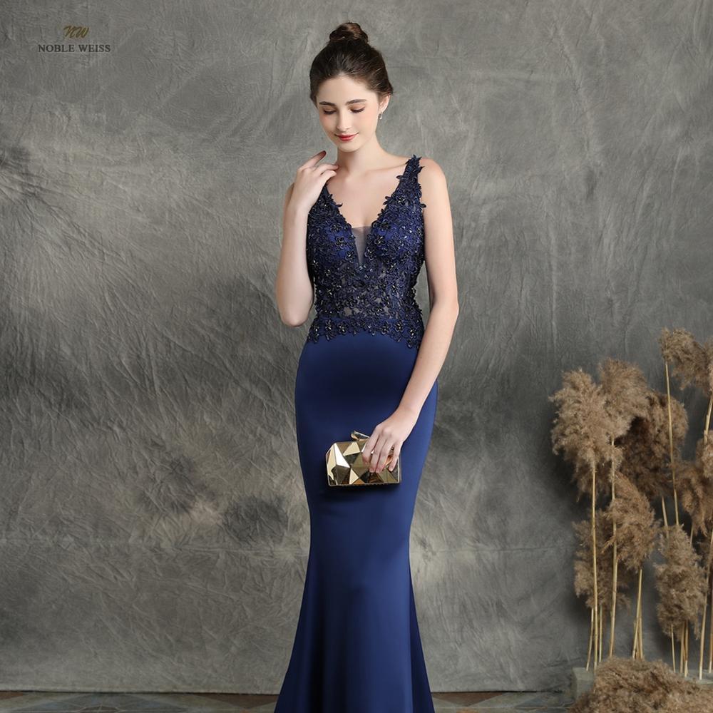 Image 4 - prom dresses 2019 black mermaid elastic party dress sexy vestidos  de gala v neck appliques beading prom gownProm Dresses   -