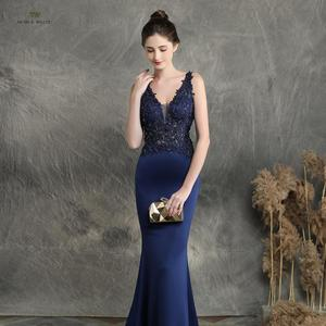 Image 4 - prom dresses 2019 black mermaid elastic party dress sexy vestidos de gala v neck appliques beading prom gown