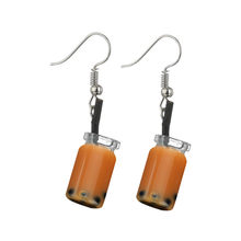 Creative Unique Bubble Tea Drop Earrings For Women Personality Milk Tea Drink Earring Funny Party Jewelry Girl Gift ##9(China)