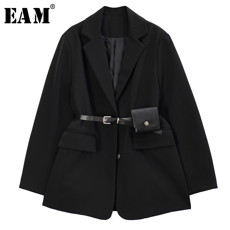 [EAM]  Women Black Split Joint Temperament Blazer New Lapel Long Sleeve Loose Fit  Jacket Fashion Tide Spring Autumn 2020 1R733
