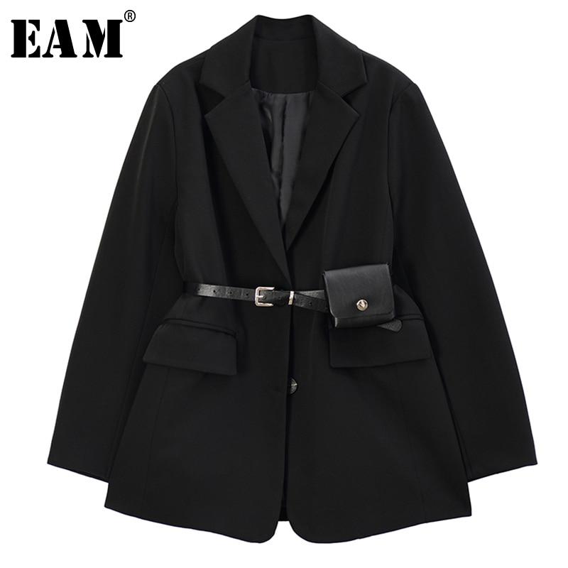 [EAM]  Women Black Split Joint Temperament Blazer New Lapel Long Sleeve Loose Fit  Jacket Fashion Tide Spring Autumn 2020 1R733