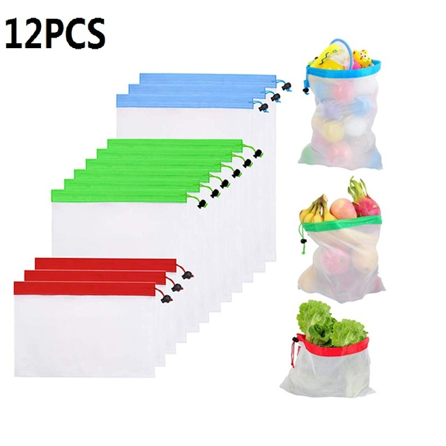 12PCS Portable Reusable Grocery Bags Fruit Vegetable Toys Sundries Bag Washable Mesh Organic Handbag Net Tote