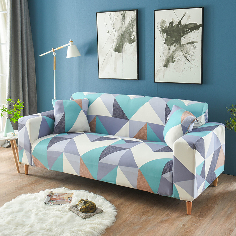 Stretchable Sofa Cover with Elastic for Sectional Couch Protects Sofa from Stains Damage and Dust 24