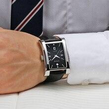 WWOOR Watches Mens Fashion Classic Genuine Leather Watch Men Top Luxury Black Date Quartz Clock Waterproof Wrist Watch Male 2020