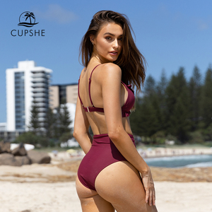 Image 3 - CUPSHE Solid Burgundy Ruffled High Waisted Bikini Sets Sexy Padded Swimsuit Two Pieces Swimwear Women 2020 Beach Bathing Suits