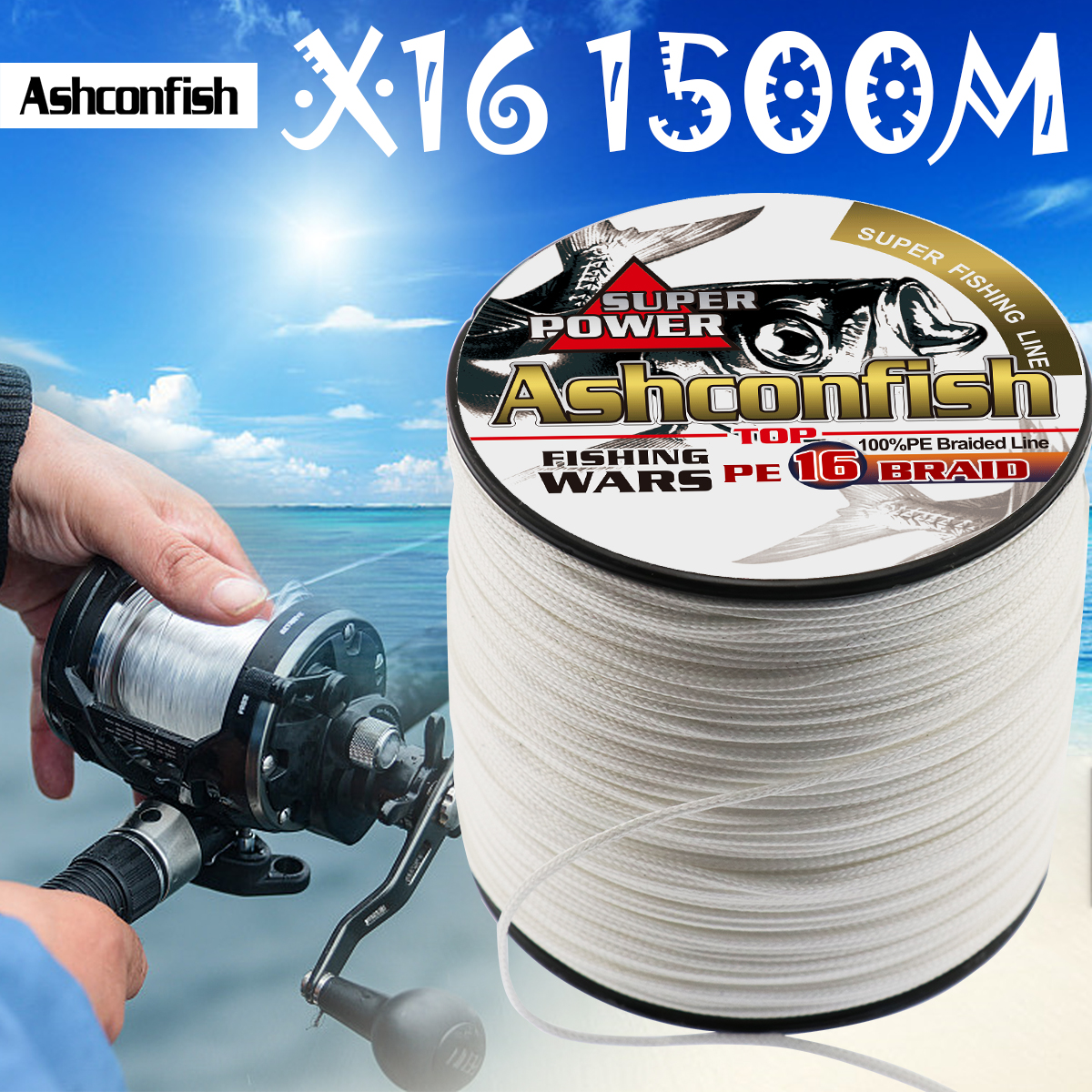 Super hollowcore braided fishing line 1500M 16 Strands pe super Ocean Fishing braided wires 20 500LBS leader line 0.16 2.0mm - 4