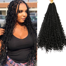 """Saisity Omber Synthetic 22"""" 12Roots With Curly End Extensions Goddess Box Braids Crochet Bohemian Messy Box Braids Crochet Hair cheap Low Temperature Fiber CN(Origin) Marley Braids 12strands pack Ombre"""