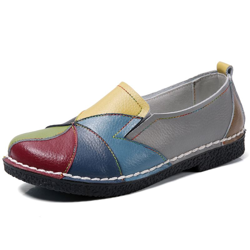 MORAZORA Plus size 35-44 New genuine leather shoes woman mixed colors casual women flats fashion spring summer lady flat shoes 5