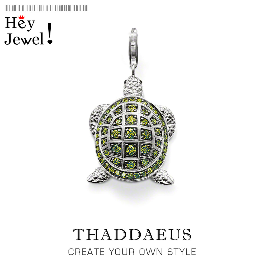 Pendant Green Turtle Large,2019 Brand New Fashion Jewelry Thomas Bijoux Accessories 925 Sterling Silver Gift For Ts Woman Men