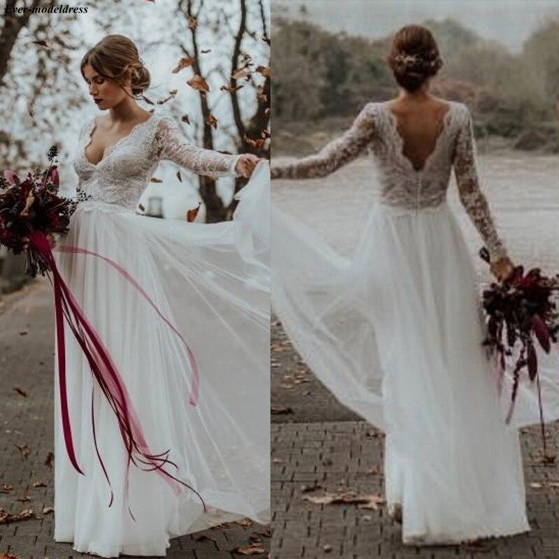 2019 Boho Wedding Dress Long Sleeves V-Neck Long Beach Bridal Gowns Floor Length Appliques Zipper Back Simple Robe De Mariee