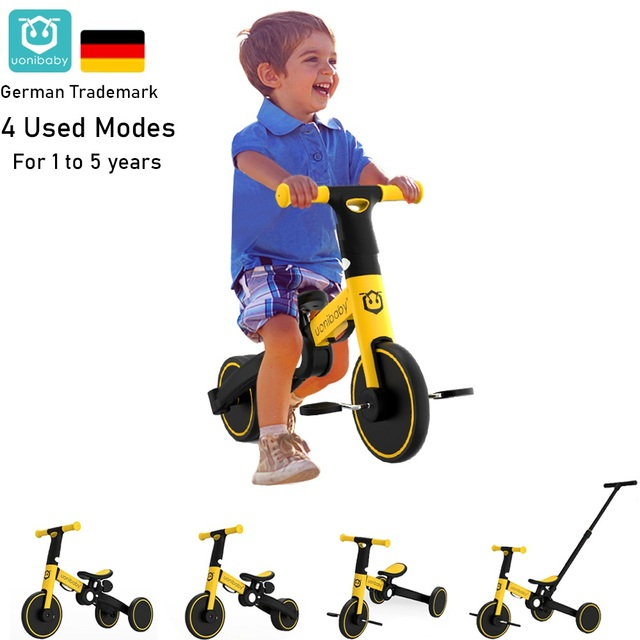 uonibaby 4 into 1 Baby Stroller Pedal Tricycle Two Wheel Balance Bike Trolley 1