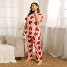 Женский пижамный комплект размера плюс с принтом «любовь» круглый