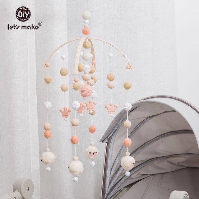 Lets Make 1pc Baby Mobile Wool Felt Balls Wooden Trojan Baby Shower Nursery Decor Hanging Pom Pom Garland Crib Hanging Bed Bell