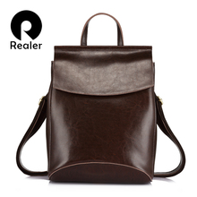 REALER women backpack split leather school bags for teenage