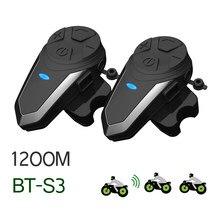 2 pçs BT-S3 capacete intercomunicador 1200m fone de ouvido bluetooth para 3 pilotos motocicleta grupo falar capacete intercom bts3
