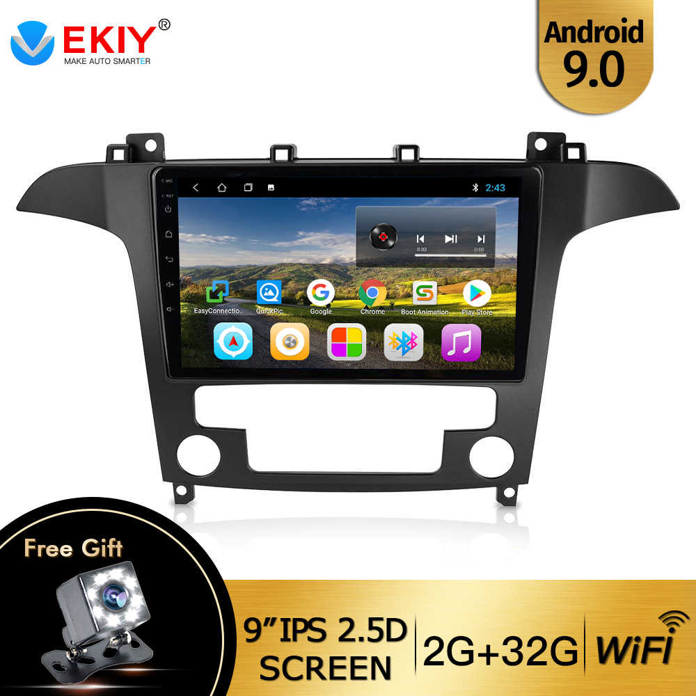 Ekiy 9 ''IPS Mobil Radio Android 9.0 Auto Stereo Multimedia untuk Ford S-MAX Ford S MAX 2007 2008 GPS Navi Navigasi WIFI Mobil Dvd