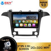 Ekiy 9 ips ips ips rádio do carro android 9.0 multimídia estéreo automático para ford s-max ford s max 2007 2008 gps navi navegação wi-fi carro dvd