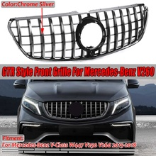 Chrome/Black W447 For GTR Style Grille Grill Car Front Bumper GT Grill Grille For Mercedes For Benz V Class W447 V250 V260 15 18