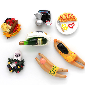 Jarrón holandés de vino tinto, modelo de pizza, imán 3D, pasta para nevera, decoración del hogar, personaje de dibujos animados, imanes para nevera, regalos de colección