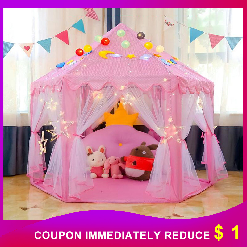 Princess Children's Tent Ball Pool Wigwam Portable Tent For Kids Girl's Castle Play House Outdoor Garden Kid Folding Beach Toys image