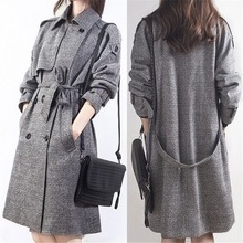 Korea woman cloth woolen autumn and winter long coat womans large size trench for women plaid