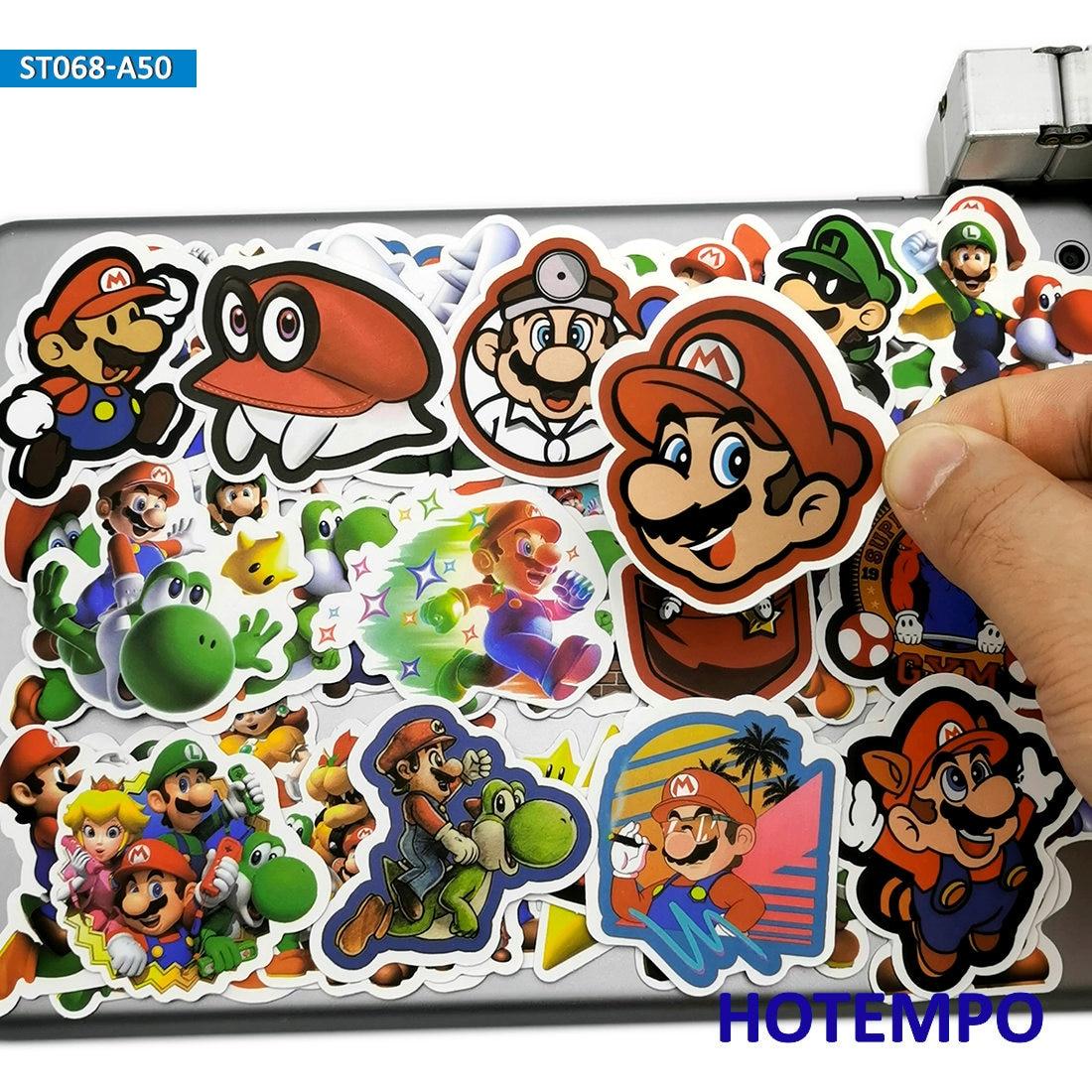 50pcs Cartoon Super Hero Mario Luigi Games Stickers Toys For Mobile Phone Laptop Luggage Suitcase Skateboard Anime Decal Sticker