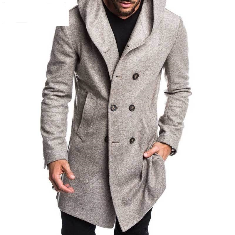 Fashion Mens Trench Coat Jacket Spring Autumn Mens Overcoats Casual Solid Color Woolen Trench Coat for Men Clothing
