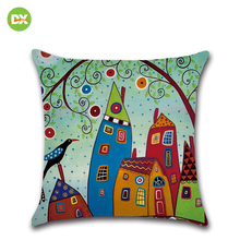 цена на Christmas Pillow Covers Cartoon Cojines Decorativos Para Sofa Home Decor Rustic Vintage Linen Pillowcase Cushion Cover