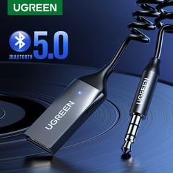UGREEN-adaptador auxiliar Bluetooth para coche, receptor inalámbrico, USB a Jack de 3,5mm, Audio, música, micrófono, adaptador manos libres para altavoz de coche