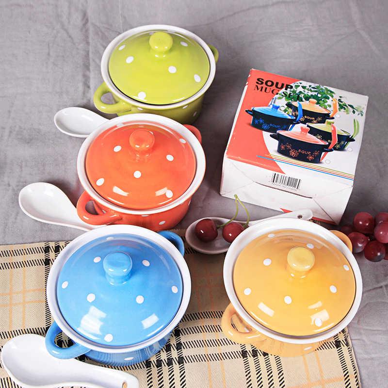 カラフルなドットファッション韓国かわいいミニセラミック鍋ストックポットの蓋スプーンセラミックスープボウル