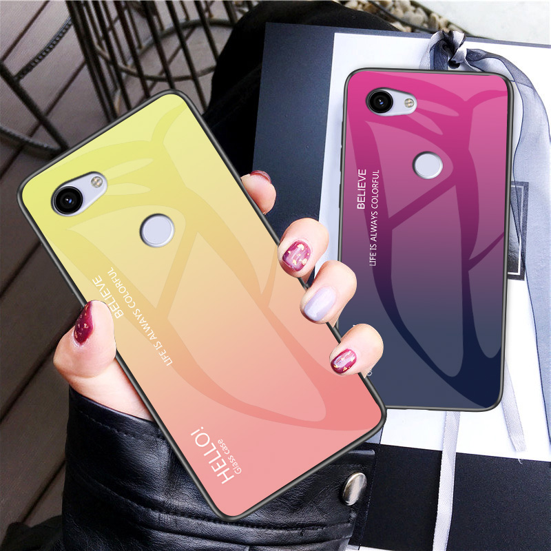 For Google Pixel 3A 3 XL Case Fashion Hard Toughened Glass Gradient Protective Back Cover Case For Google Pixel 2 XL Pixel3 3A