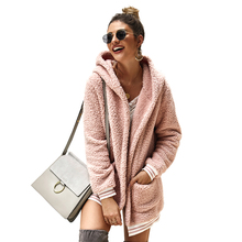 New Solid Coat Women Autumn Winter Wide Lapel Loose Warm Outwear Female Casual Jumper Ladies Blend Faux fur
