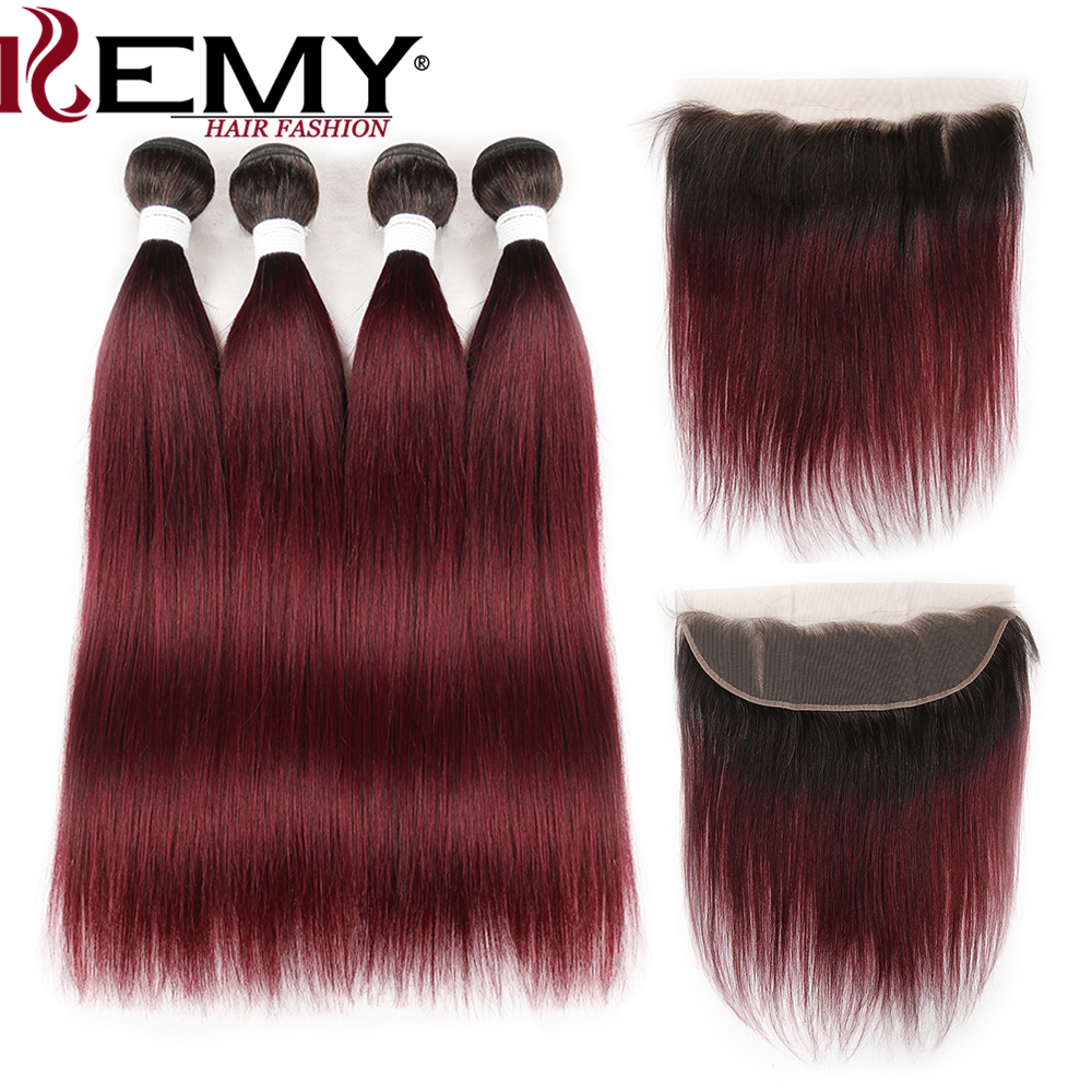 Ombre Red Human Hair Bundles With Frontal KEMY HAIR Two Tone 1B/99J Brazilian Straight Hair Weave Bundles With Closure Non-Remy