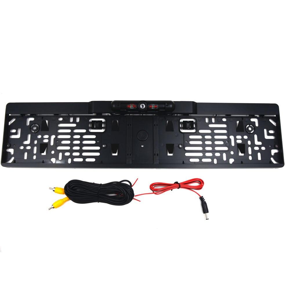 Porte-plaque d'immatriculation de cadre de plaque d'immatriculation de voiture européenne avec caméra de recul 4 LED IR