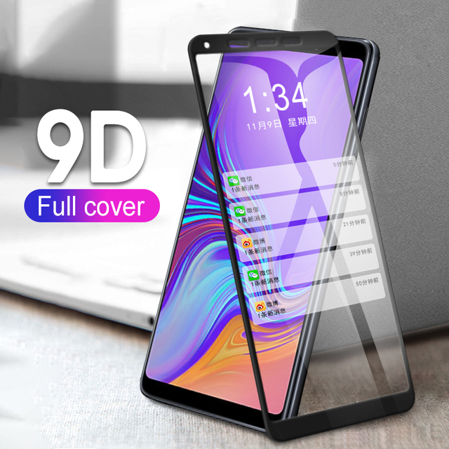 9D Kính Cường Lực Dành Cho Samsung Galaxy Samsung Galaxy A6 2018 Kính Cường Lực Bảo Vệ Màn Hình Trong Cho Samsung A6 Plus 2018 A6 + Tặng 6 a6PLUS A600 Màng bảo vệ