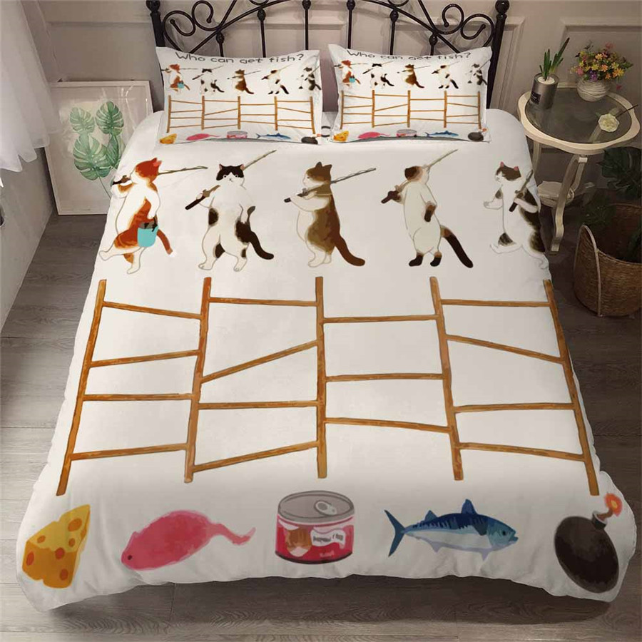 HELENGILI 3D Bedding Set Cartoon Cat Print Duvet Cover Set Bedcloth With Pillowcase Bed Set Home Textiles #YC-110