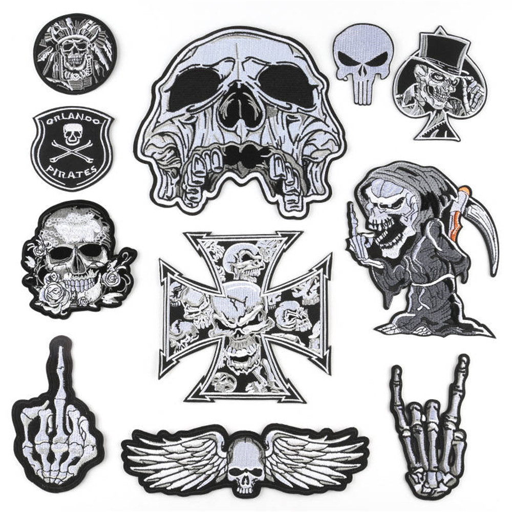 Goth Gothic Patches for Clothing Iron-on Badges Black Applique For Jacket Decorative Ironing Skull Patch On Clothes Stickers