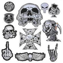 Goth Gothic Patches für Kleidung Eisen-auf Abzeichen Schwarz Applique Für Jacke Dekorative Bügeln Schädel Patch Auf Kleidung Aufkleber