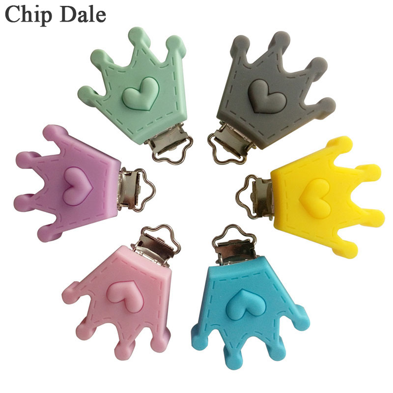 5Pcs Crown Shape Silicone Pacifier Clips Dummy Clips DIY Pacifier Chain Holder Baby Teether Nipple Clasp