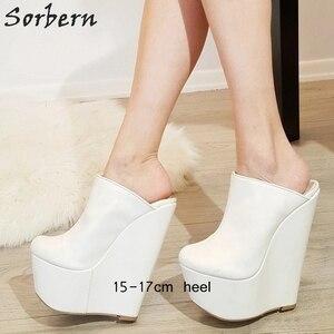Image 2 - Sorbern White Slip On Mules Wedge Platform High Heels Pointed Toe 7 Inch Heels Womans Designer Shoes Custom Multi Colors