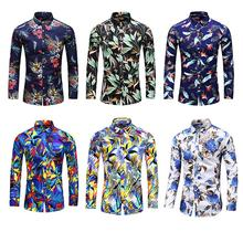 Hawaiian Shirt Mens clothing Long sleeve Fashion Floral Blouse Men Flower dress Shirts Social New