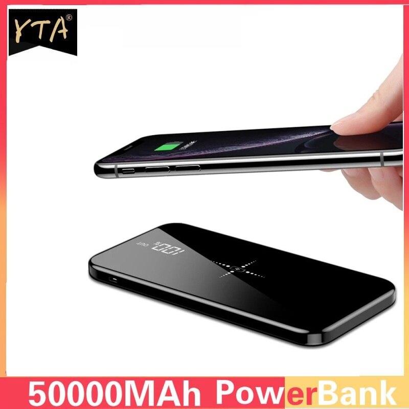 Qi Беспроводное зарядное устройство 50000 мАч, беспроводное зарядное устройство для iPhone, Samsung, Внешнее зарядное устройство, портативное зарядн...